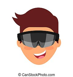 Person with augmented reality glasses vector illustration...