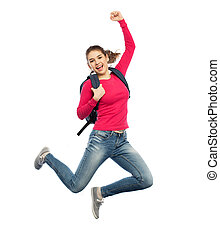 happy woman or student with backpack jumping - education,...