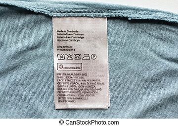 label with users manual of clothing item - clothes, laundry...