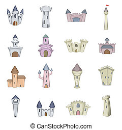 Castle tower icons set, cartoon style - Castle tower icons...