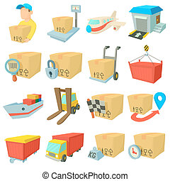 Cargo logistics icons set, cartoon style - Cargo logistics...