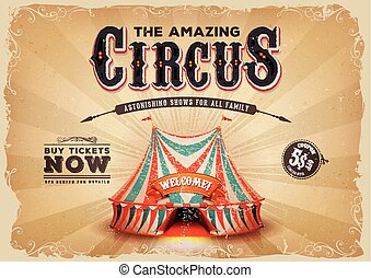 Vintage Old Circus Poster With Grunge Texture - Illustration...