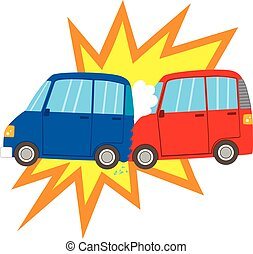 Car Accident - Flat color style illustration of two car on...