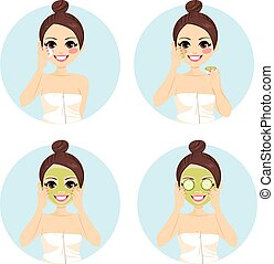 Beauty Cucumber Facial Treatment - Girl infographic of...