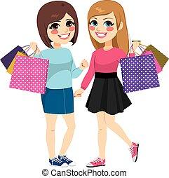 Best Friends Shopping - Cute teenager best friends shopping...