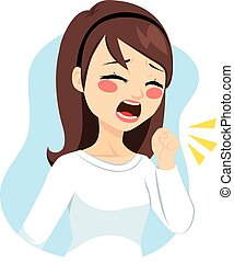 Woman Coughing - Illustration of young woman coughing with...