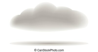 realistic 3D gray cloud with shadow, vector cloud with...