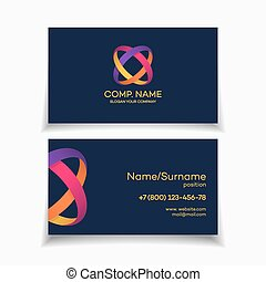 Business card template with two circle colorful abstract...