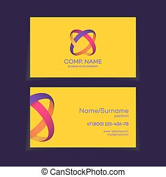Business card template with two circle colorful logo -...