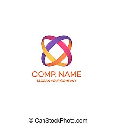 Two circle colorful abstract logo on white background can...