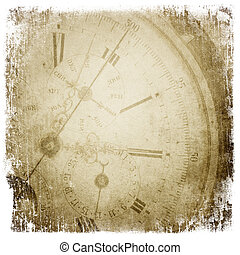 Antique pocket clock face. Grunge background with isolated...