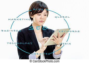 Asian businesswoman working on tablet computer