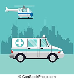 ambulance fly helicopter medical transport city background...