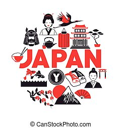 japan poster tourism collection icons