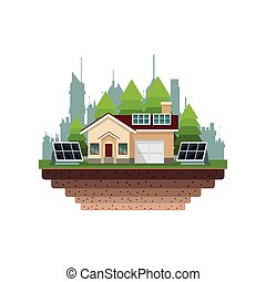 house suburban solar panel city background