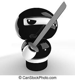 Ninja - 3D Japanese ninja with katana ready to attack