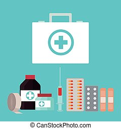 collection first aid kit medicine