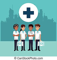 medical staff people cross city background vector...