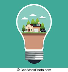 bulb with smart house ecological panel solar