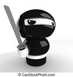 Ninja - 3D Japanese ninja with katana ready to attack
