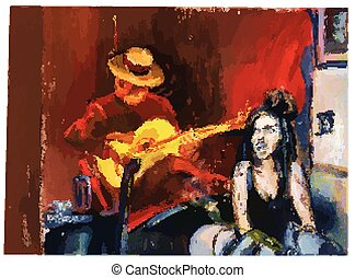 An hand painted picture converted into vector. Musician -...