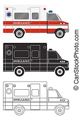 Ambulance car in three different styles: color, black silhouette, contour. Emergency medical service vehicle.