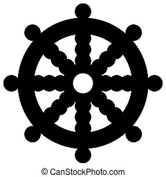 Religious sign. Buddhism. Dharmacakra. Vector Format.