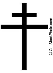 Religious sign. Christianity. Patriarchal cross. Vector Format.