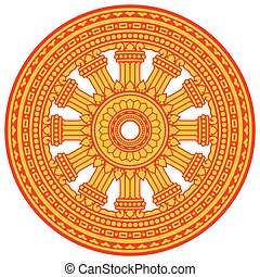 Religious sign. Buddhism. Red Dharmacakra on yellow. Vector Format.