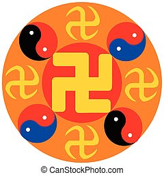 Religious sign. Chinese religions. Falun Gong. Vector...