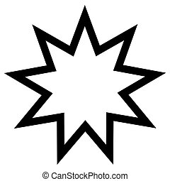 Religious sign. Bahai Faith. Nine pointed star. Vector...