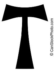 Religious sign. Christianity. Tau cross. Vector Format.