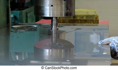 Industrial metal press - close up of cnc punching press...