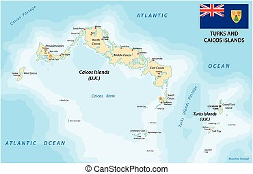 Turks and caicos islands map with flag - Turks and caicos...