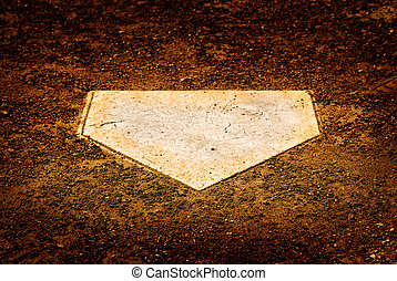 Home Plate on Baseball Diamond for Scoring Points