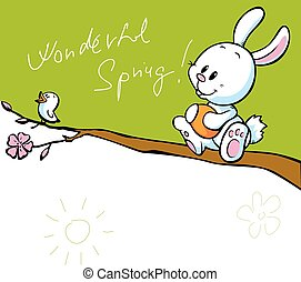 spring banner with singing bird and white easter bunny holding easter egg - vector
