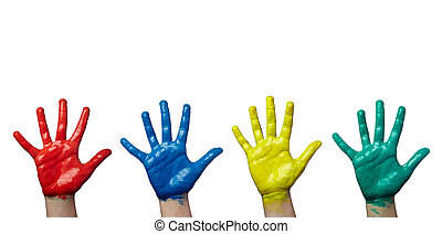 color painted child hand art craft - close up of child hands...