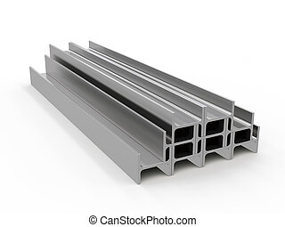 metal beam, 3d rendering - 3D visualization of the beam on a...