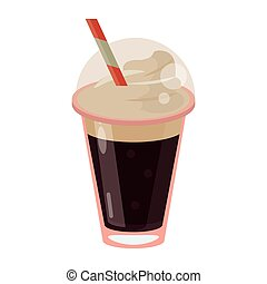 frappe coffee straw take out container vector illustration...