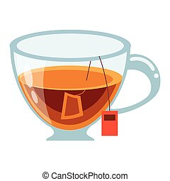 glass cup tea fresh vector illustration eps 10