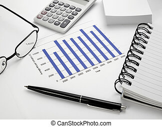business graph chart stock market office desk finance -...