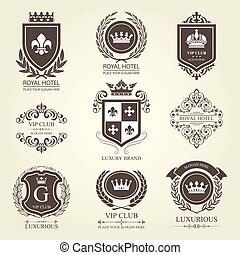 Luxurious heraldic emblems and badges with shields and...