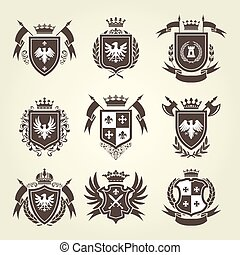 Medieval royal coat of arms and knight emblems - heraldic...