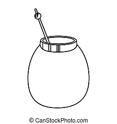mate tea calabash herb thin line vector illustration eps 10