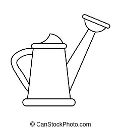 water can gardering equipment thin line vector illustration...