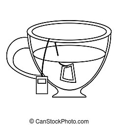 glass cup tea fresh thin line vector illustration eps 10