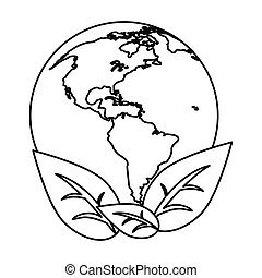 world earth ecological enviroment leaves symbol thin line