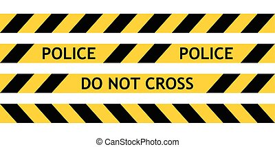 Seamless tape fencing police guard the scene of offence with...