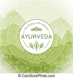 Ayurveda illustration with mountains landscape - Vector...