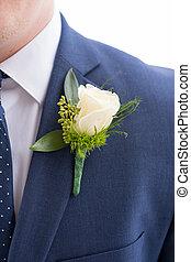 Groom Boutineer on Navy Suit Jacket - Groom boutineer pinned...
